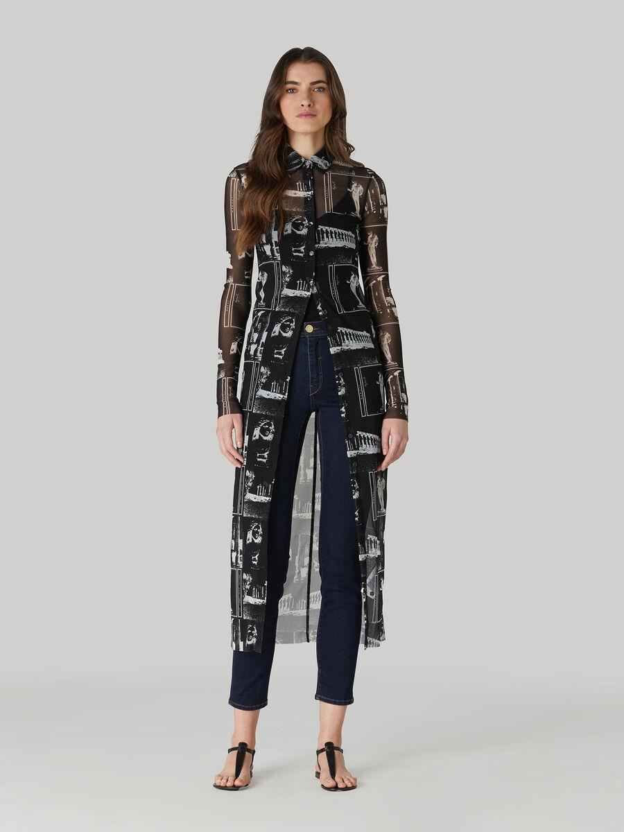 Printed mesh shirt dress