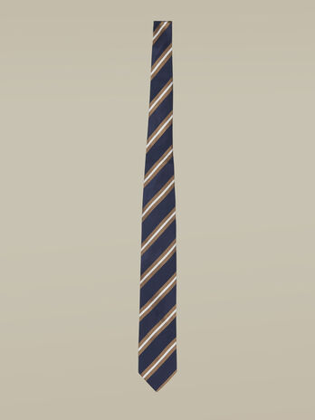 Silk tie with regimental stripes