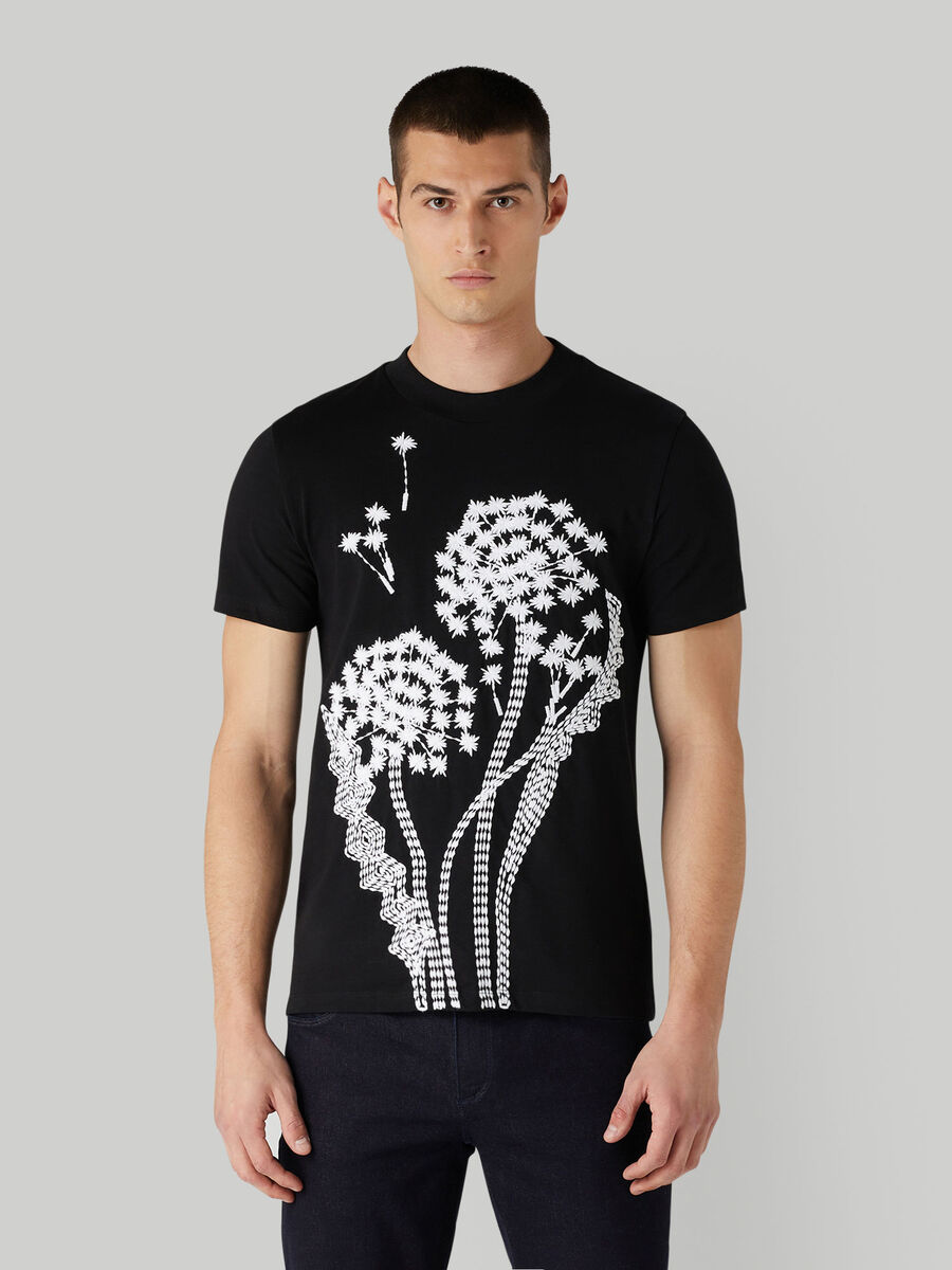 T-Shirt aus Baumwolljersey mit Maxi-Stickerei
