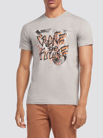 Jersey T shirt with lettering print