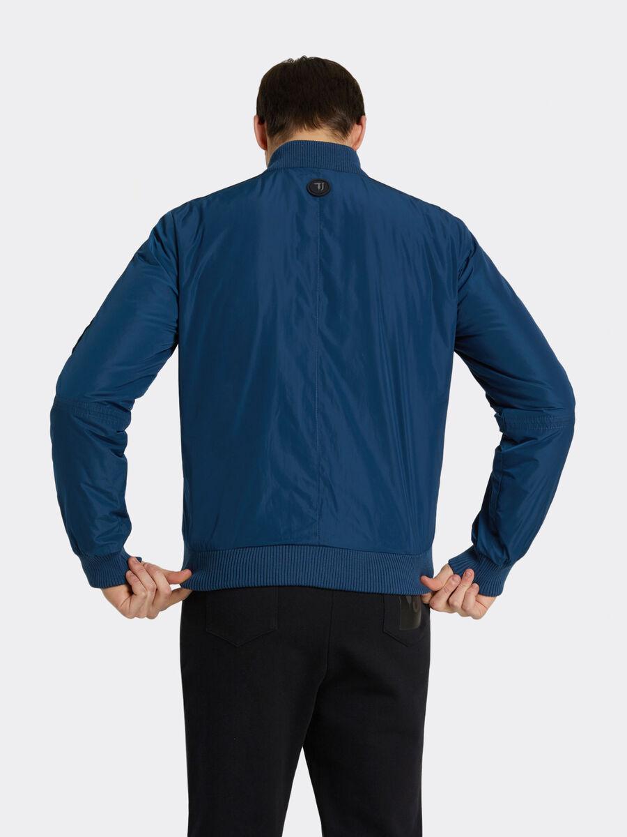 Bomber regular fit in nylon opaco e mini logo laterale