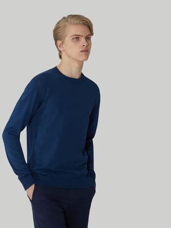 Pure cotton crew-neck pullover