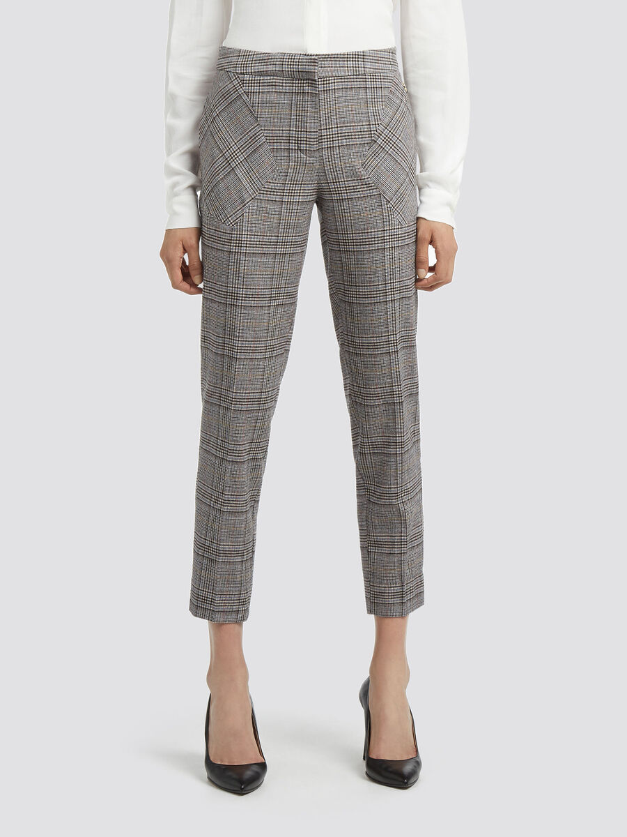 Glen plaid cigarette trousers