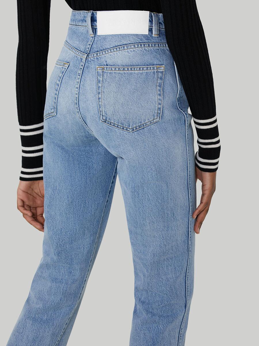 Cotton denim tube jeans