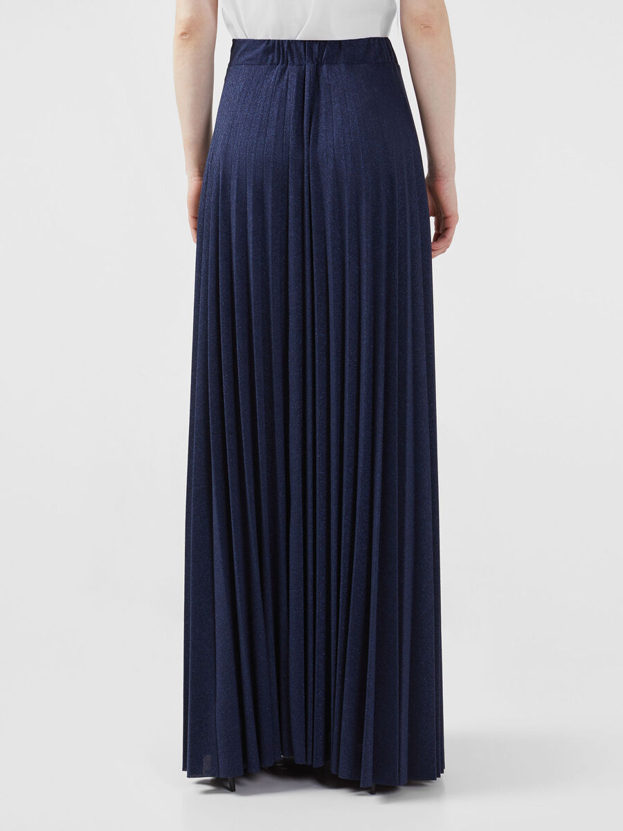 Long pleated skirt in lurex jersey