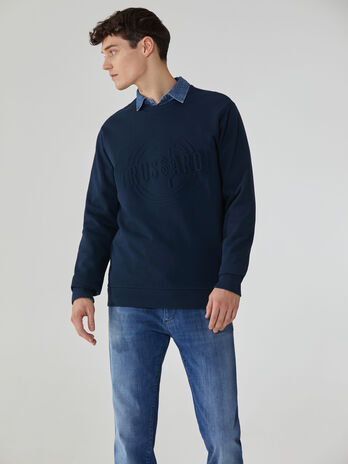 Felpa regular fit in cotone con logo embossed