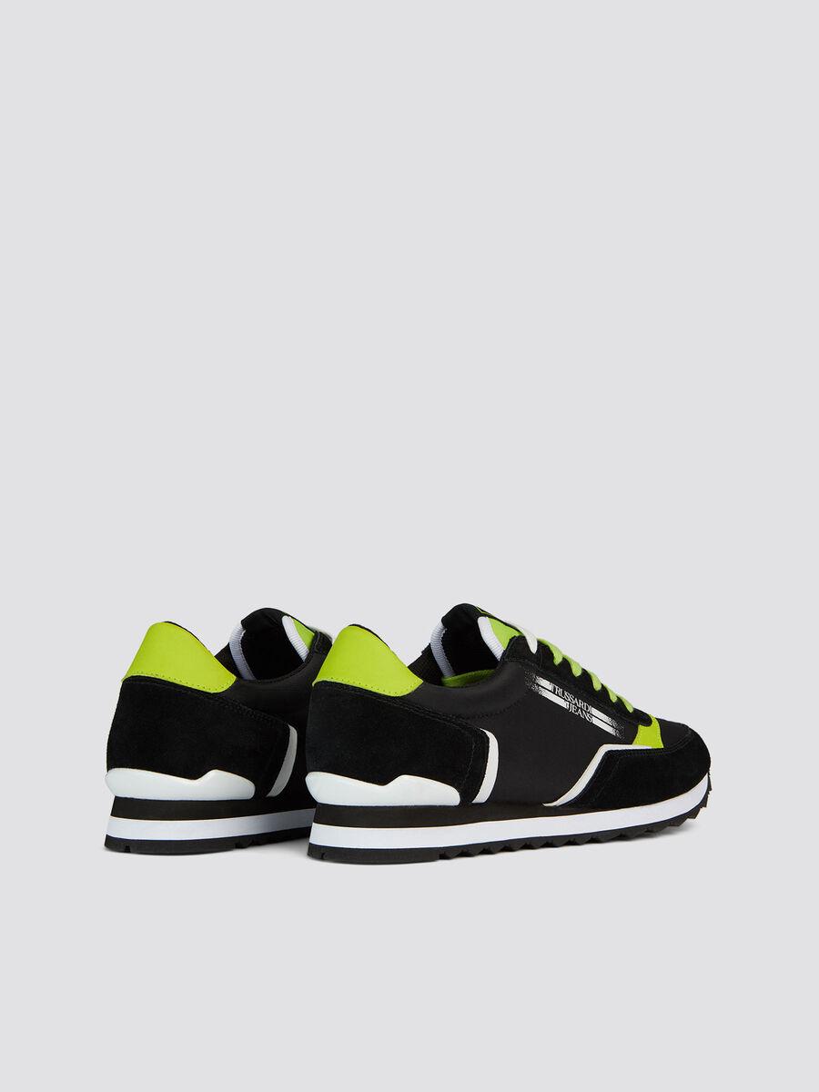 Sneakers running multicolor camoscio e nylon con lacci