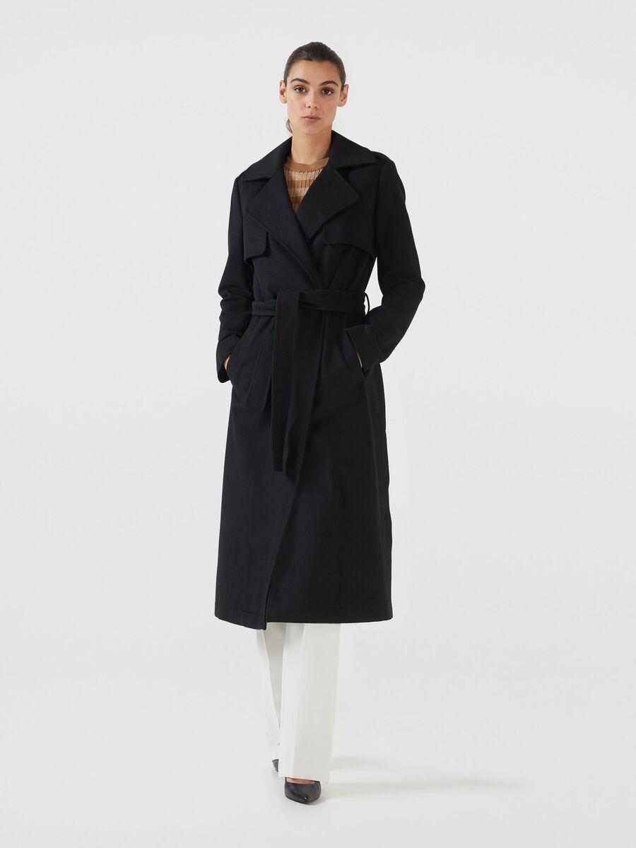 low priced a936a 72fd3 Cappotto lungo in tessuto con cintura