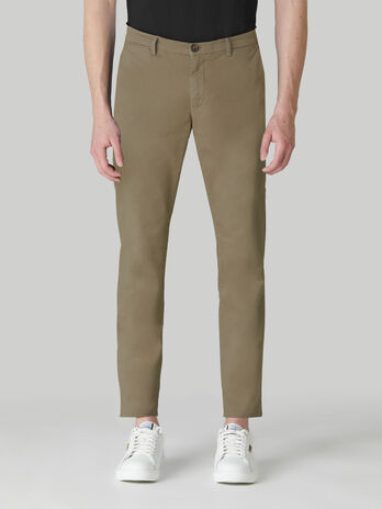 Aviator-fit cotton sateen trousers