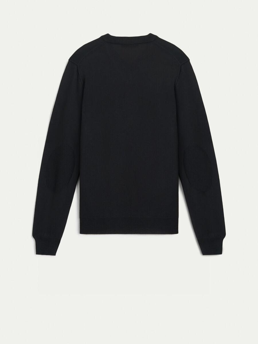 Pullover in mista lana con scollo a V