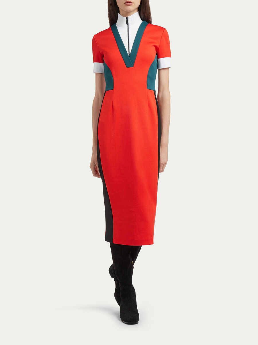 Pique polo neck dress with geometric colour blocking