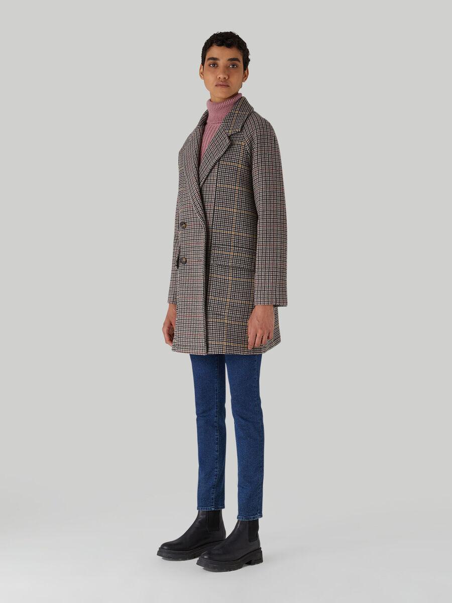 Chequered fabric coat