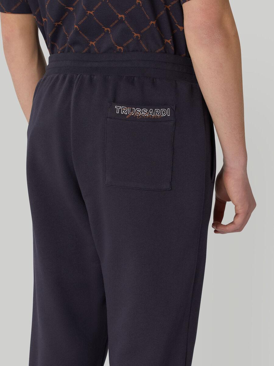 Regular-fit cotton fleece jogging bottoms