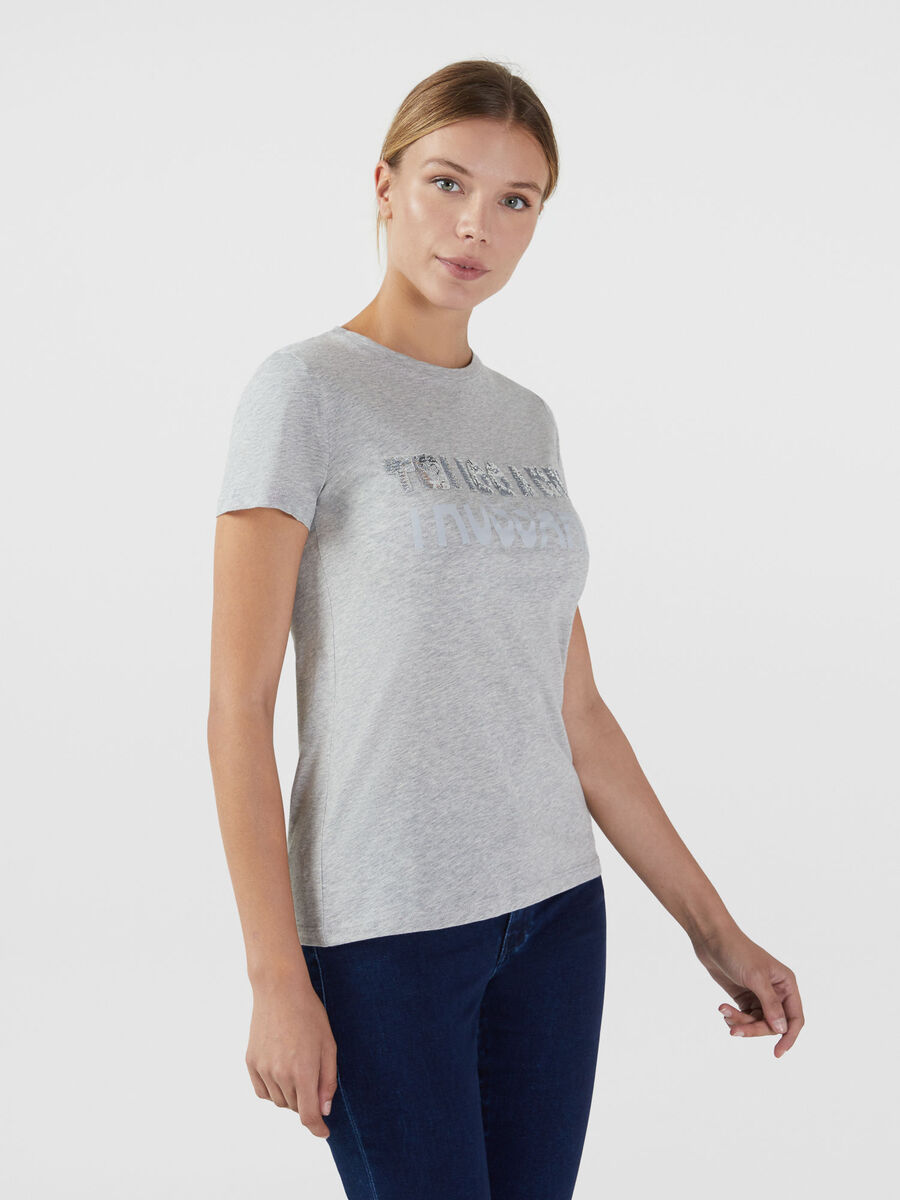 Regular fit cotton T-shirt with sequins