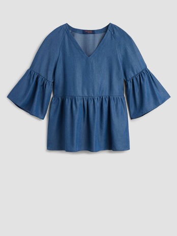 Tencel denim blouse with ruffles