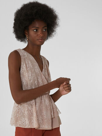 Lace top with wrap neckline