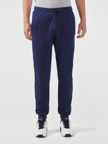 Solid colour cotton fleece jogging bottoms