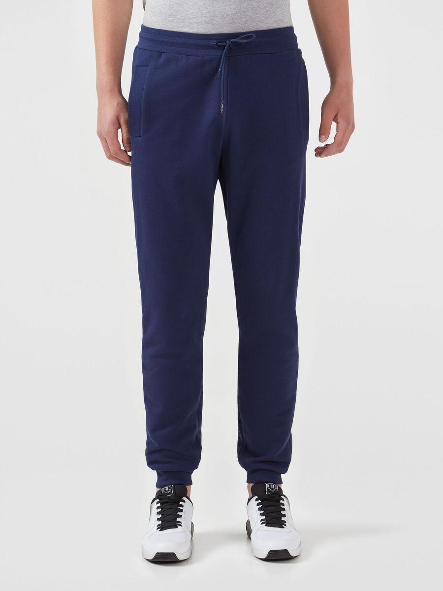 Solid colour cotton fleece jogging bottoms