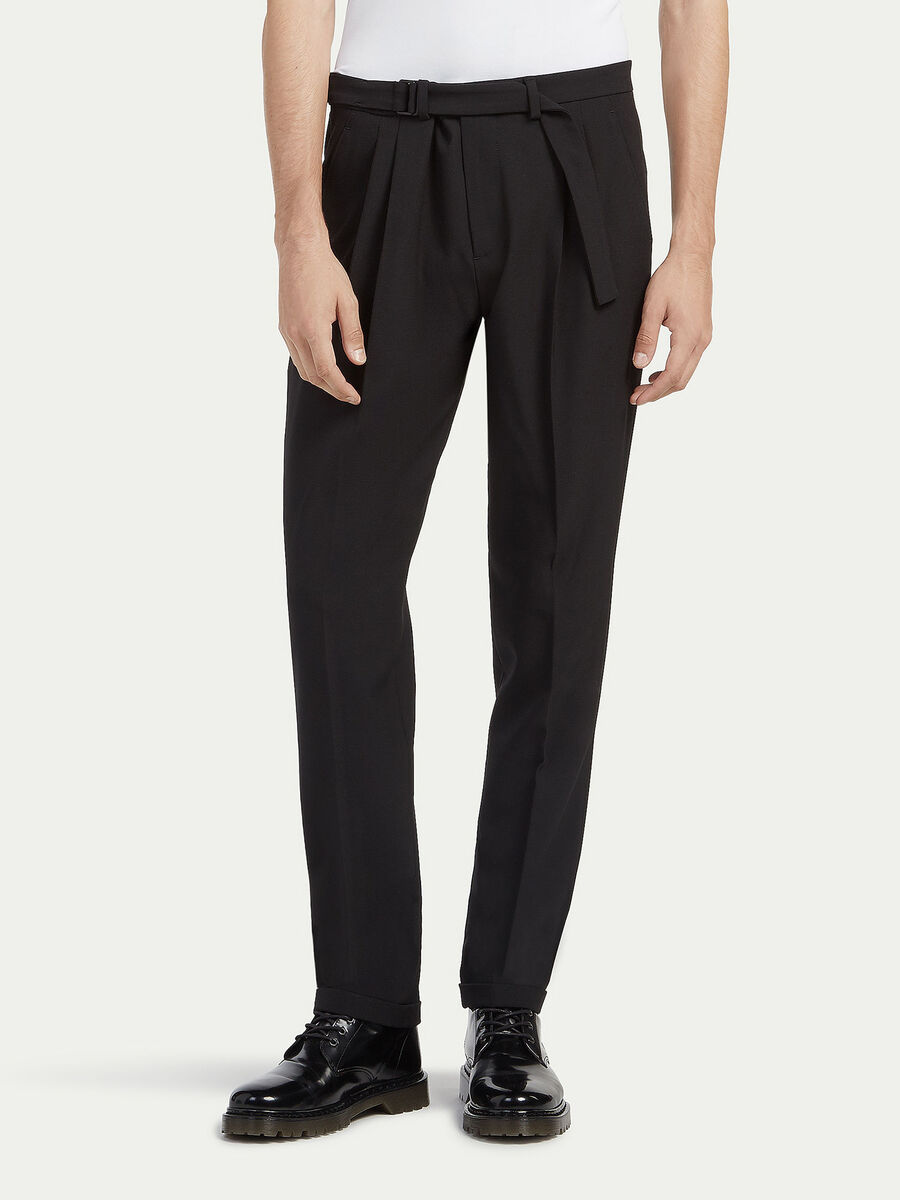 Striped trousers in two way stretch wool