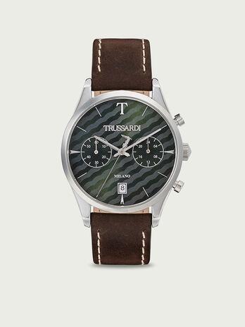 Montre avec chronographes et bracelet en cuir