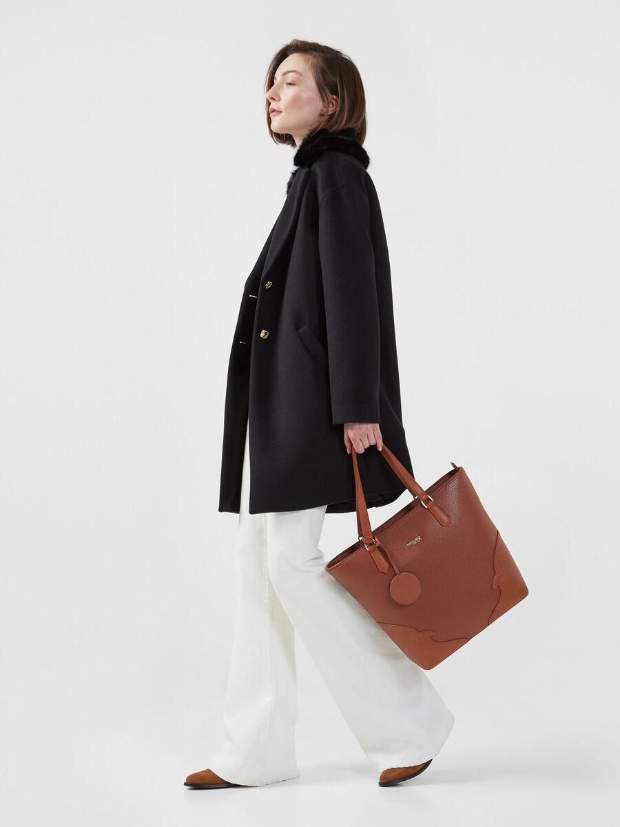 Fabric midi coat with fur collar