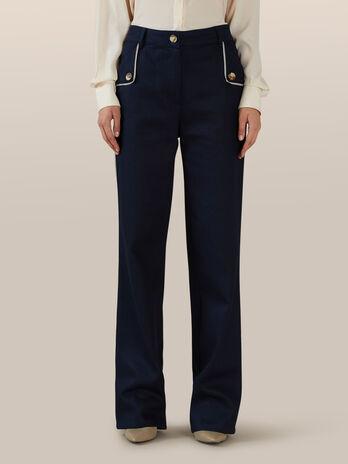 Pantalon ample en coton avec boutons