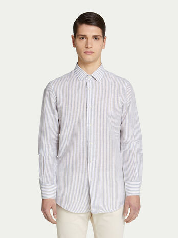 Regular fit striped shirt with classic collar