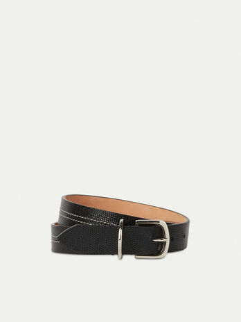 Lizard print leather belt