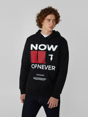 Regular fit cotton hoody with lettering print