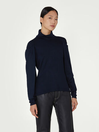 Wool polo neck with draped sleeves