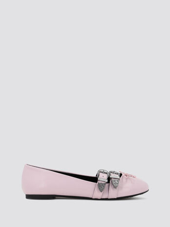 Nappa ballet flats with decorated buckles
