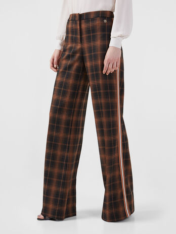 Chequered trousers with side tape detail