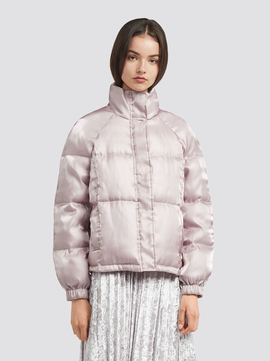 Oversized bomber style down jacket with glossy effect