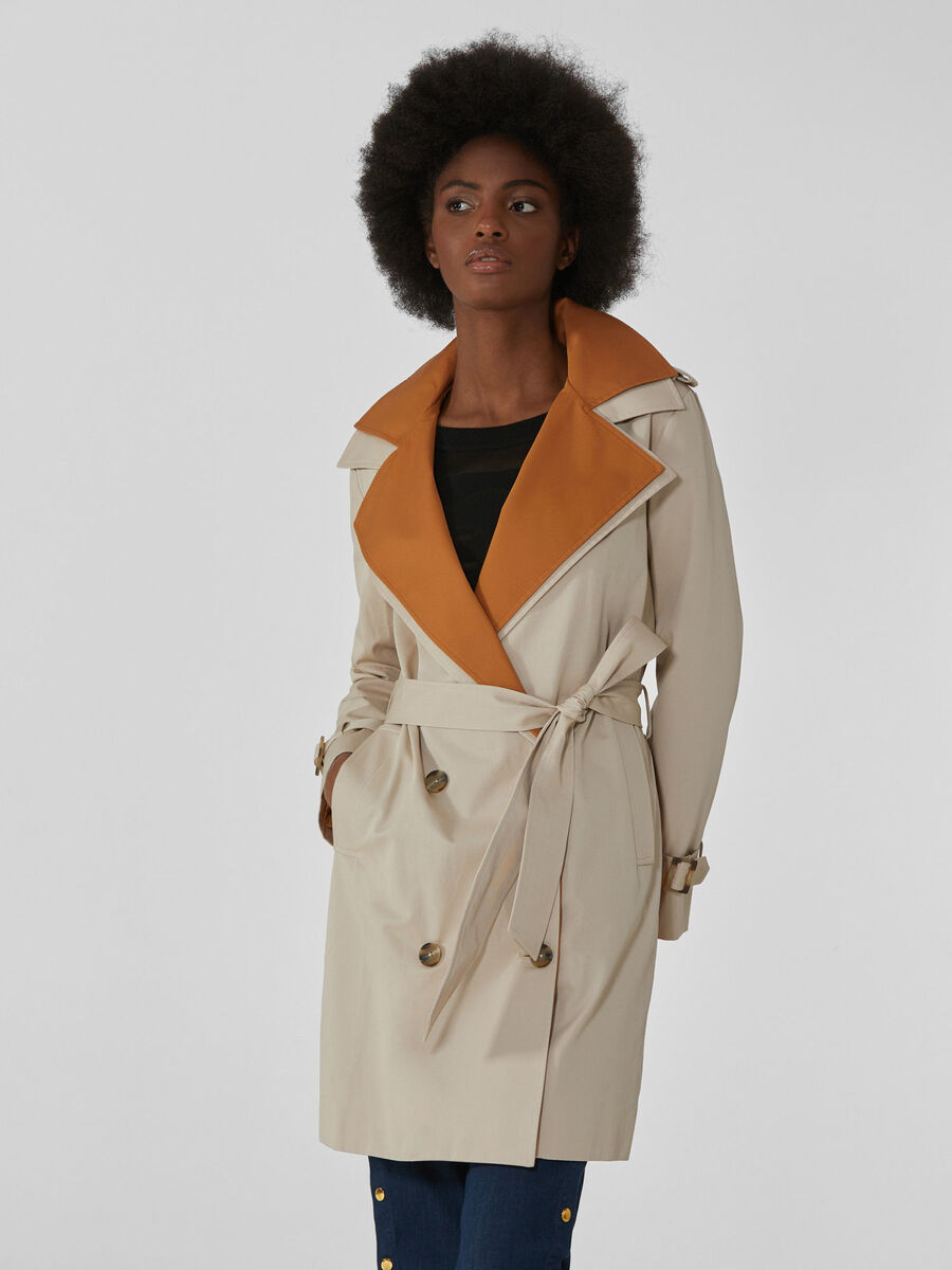 Two-tone cotton twill trench coat