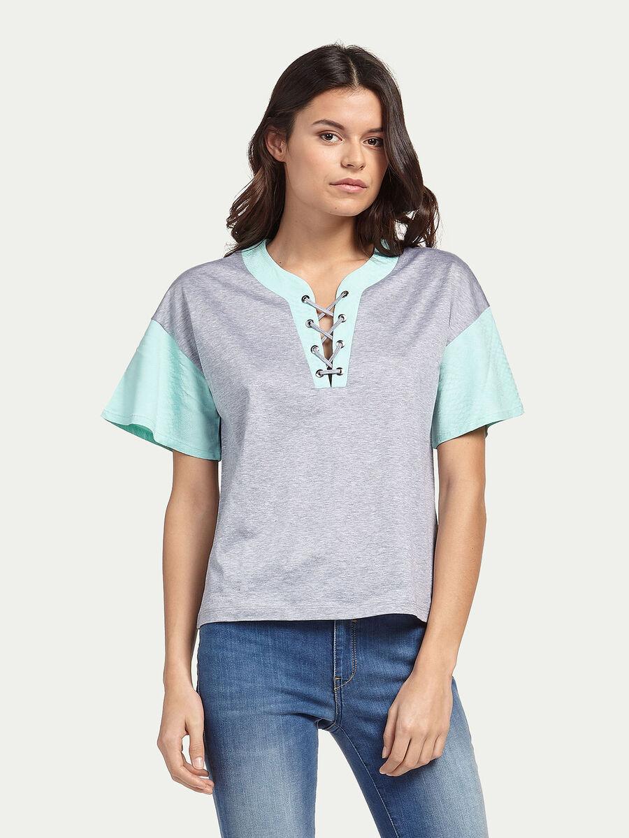 Mercerised cotton T-shirt with python print