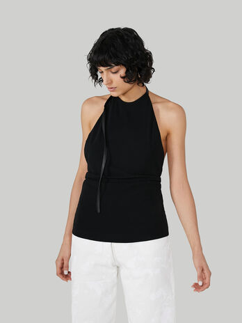 Sleeveless crepe jersey top