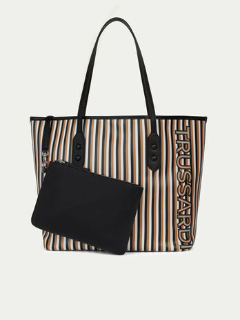009025360487 Leather shopping bag with multi coloured stripe print