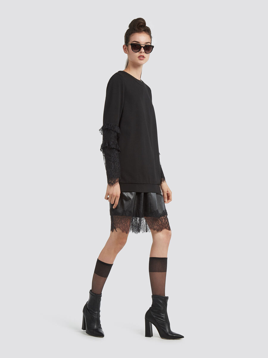 Blusa in compact jersey con pizzo