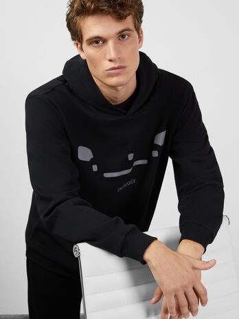 Sweat-shirt en coton a capuche