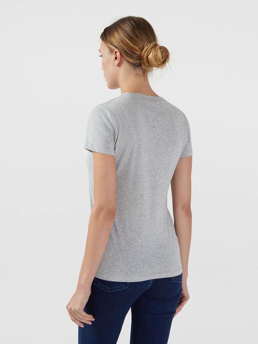 T-shirt regular fit in cotone con paillettes