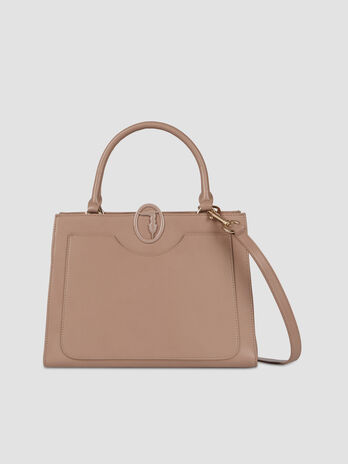 Large tote bag in solid colour smooth faux leather