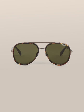 Aviator sunglasses in metal and acetate