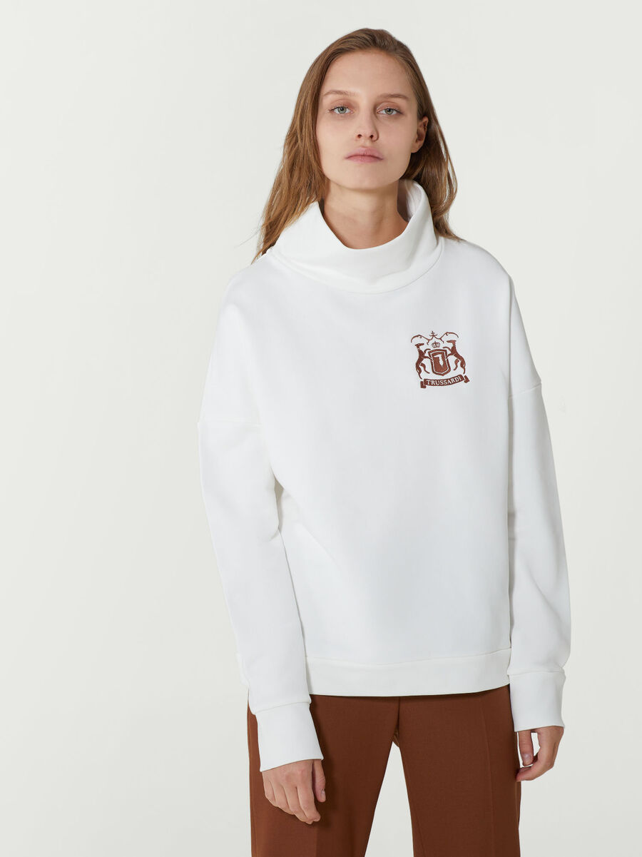 Oversized cotton sweatshirt with embroidered logo