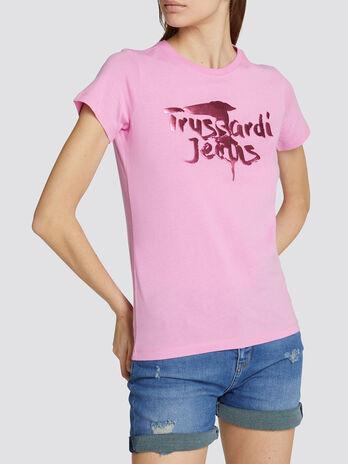 Regular fit cotton jersey T shirt with logo print