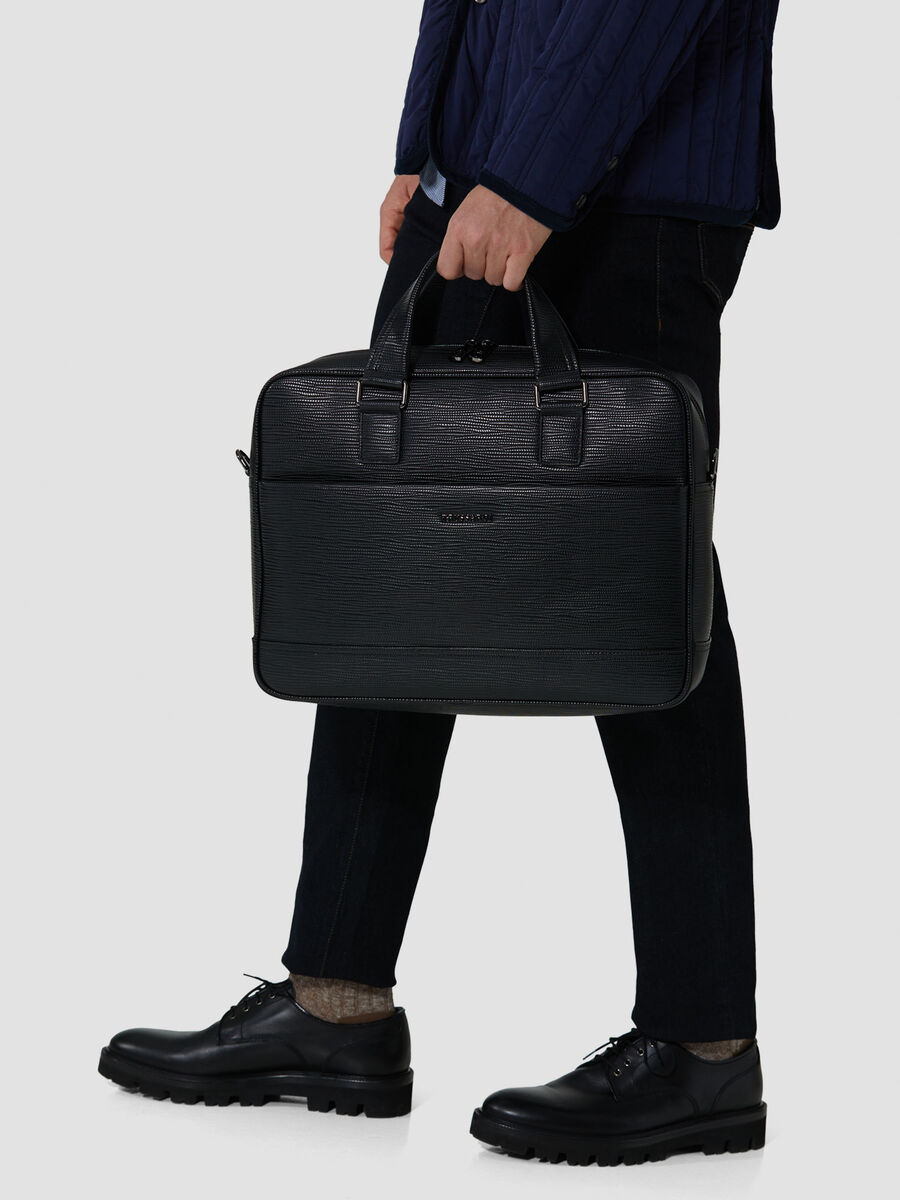 Medium Cortina business bag in faux saffiano leather