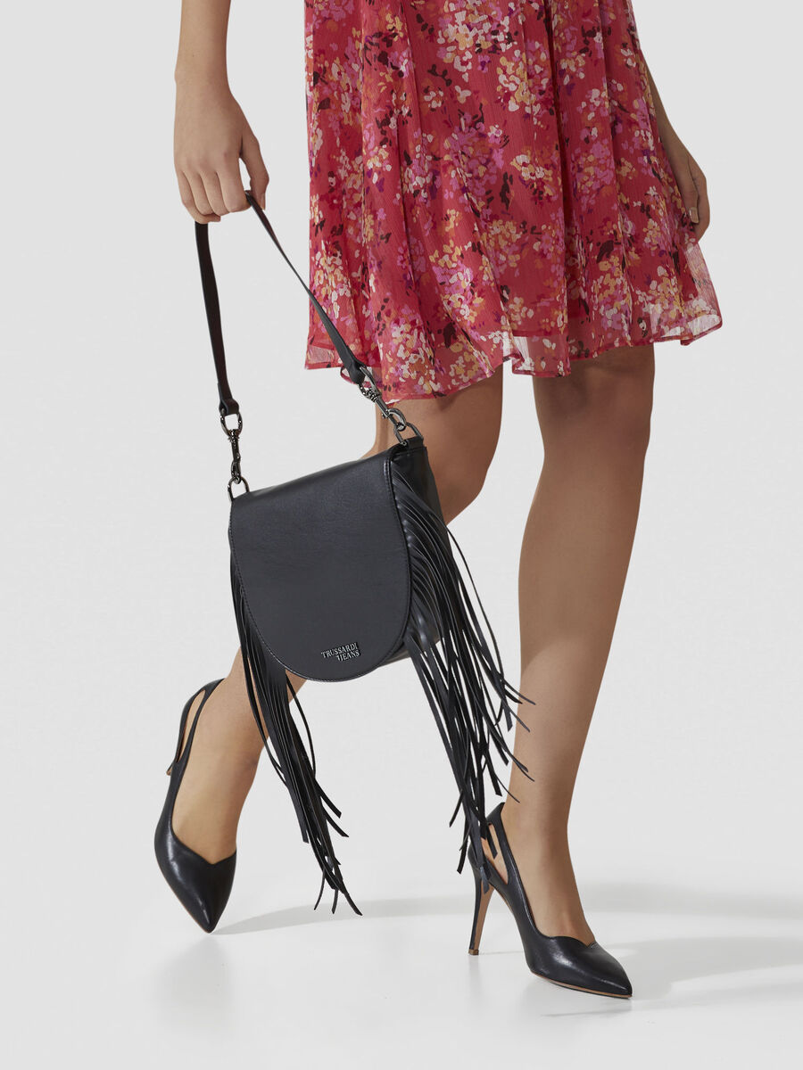 Ambra faux leather crossbody bag with fringing