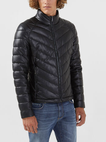 Slim fit quilted faux leather jacket