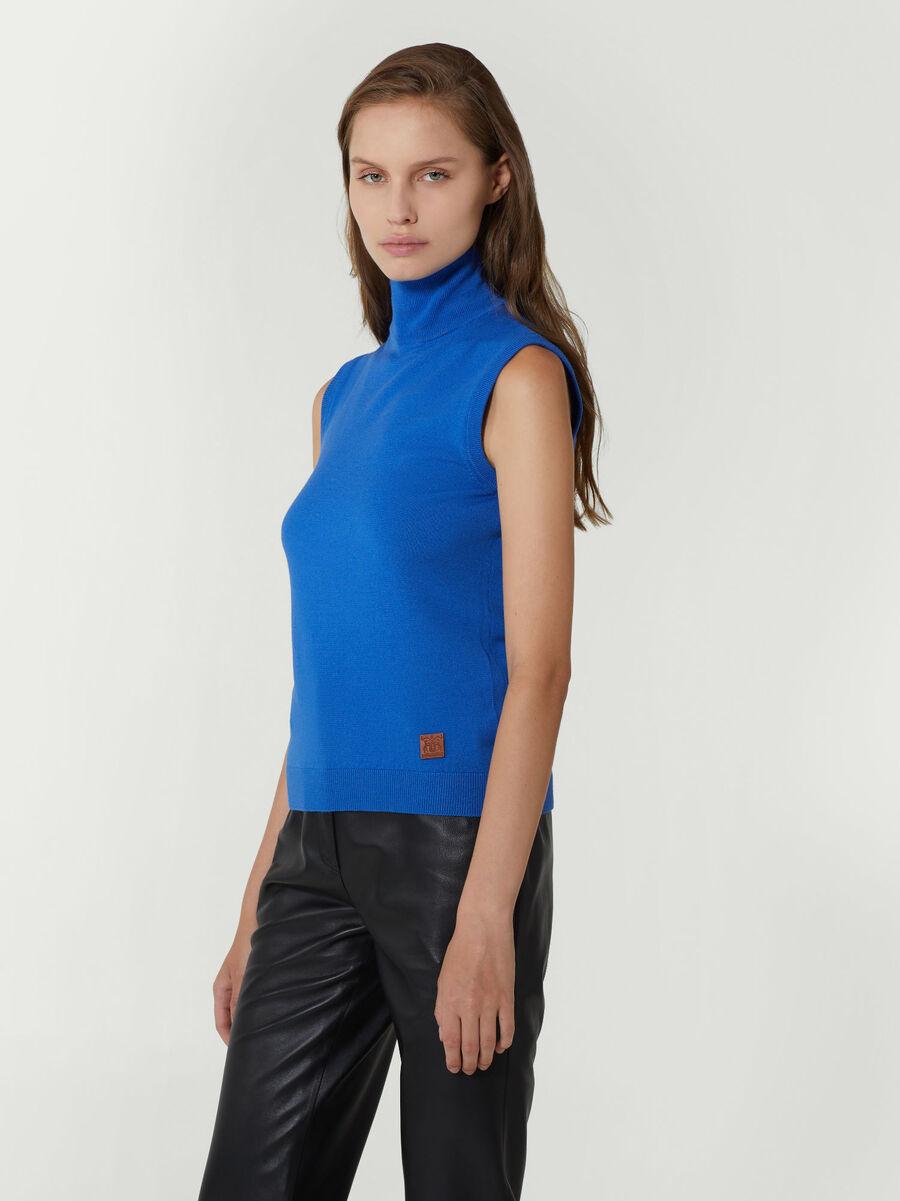 Sleeveless wool blend polo neck top