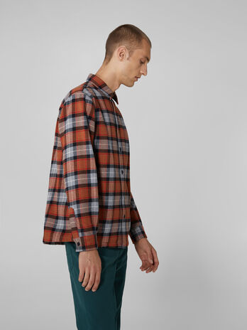 Chequered cotton flannel shirt