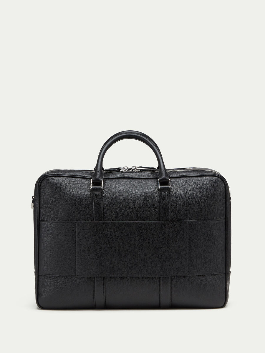 Willer leather overnight bag with double zip detail